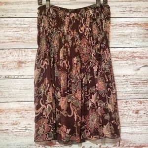 NEW Rafaella Skirt Maxi Floral Long Size 10 Brown